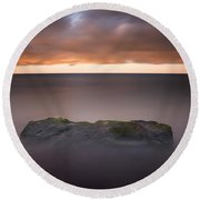 Round Beach Towel featuring the photograph Lone Stone At Sunrise by Adam Romanowicz