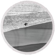 Round Beach Towel featuring the photograph Lone Surfer by Nicholas Burningham