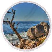 Lone Tree California Coast Round Beach Towel by James Hammond