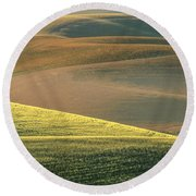 Lone Tree In The Palouse  Round Beach Towel