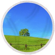 Lone Tree On A Hill Digital Art Round Beach Towel