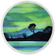 Lone Tree On The Salish Sea Round Beach Towel