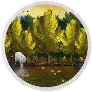 Lone Wolf At The River Round Beach Towel
