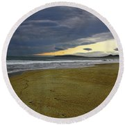 Lonely Beach Round Beach Towel