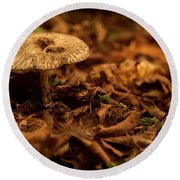 Lonely But Fungi Round Beach Towel