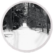 Lonely Cold Road  Round Beach Towel