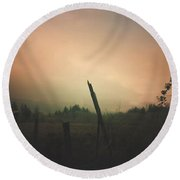 Round Beach Towel featuring the digital art Lonely Fence Post  by Chriss Pagani