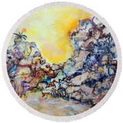 Round Beach Towel featuring the painting Lonely Flower by Mary Schiros