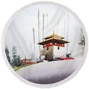 Lonely Foggy Mountain Landscape Round Beach Towel