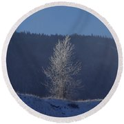 Lonely Frosty Tree Round Beach Towel