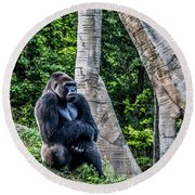 Round Beach Towel featuring the photograph Lonely Gorilla by Joann Copeland-Paul