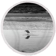 Round Beach Towel featuring the photograph Lonely Heron by Nicholas Burningham