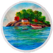 Lonely Island In Greece Round Beach Towel
