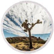 Lonely Joshua Tree Round Beach Towel