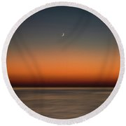 Lonely Moon Round Beach Towel