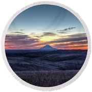 Round Beach Towel featuring the photograph Lonely Mountain Sunrise by Fiskr Larsen