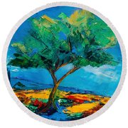Round Beach Towel featuring the painting Lonely Olive Tree by Elise Palmigiani