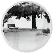 Lonely Park Bench Round Beach Towel