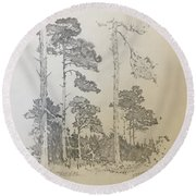 Lonely Pines Round Beach Towel
