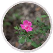 Lonely Pink Flower Round Beach Towel