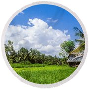 Round Beach Towel featuring the photograph Lonely Rice Hut by T Brian Jones