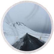 Lonely Road On Snaefellsnes Peninsula Round Beach Towel