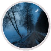 Round Beach Towel featuring the photograph Lonely Road Where The Moon Is Your Friend by Rose-Maries Pictures