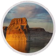 Lonely Rock Round Beach Towel by David Cote