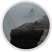 Round Beach Towel featuring the photograph Lonely Salem Lighthouse In Fog by Jeff Folger