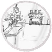 Round Beach Towel featuring the drawing Lonely Santa by Artists With Autism Inc