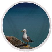 Lonely Seagull Round Beach Towel