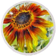Lonely Sunflower Round Beach Towel