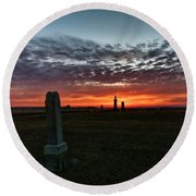 Lonely Sunset Round Beach Towel