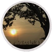 Lonely Tree At Sunset Round Beach Towel