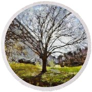 Round Beach Towel featuring the painting Lonely Tree by Derek Gedney