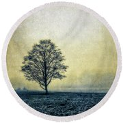 Round Beach Towel featuring the photograph Lonely Tree by Marion McCristall