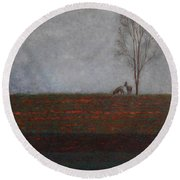 Lonely Tree With Two Roes Round Beach Towel
