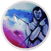 Round Beach Towel featuring the painting Lonely Warrior  by Rene Capone