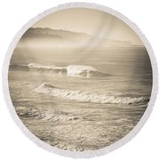 Round Beach Towel featuring the photograph Lonely Winter Waves by T Brian Jones