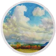 Lonesome Barn Round Beach Towel