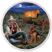 Lonesome Cowboy Round Beach Towel