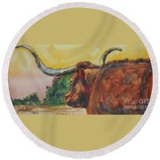 Lonesome Longhorn Round Beach Towel by Ron Stephens