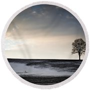 Lonesome Tree On A Hill IIi Round Beach Towel