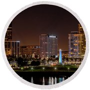 Long Beach A Chip In Time Color Round Beach Towel