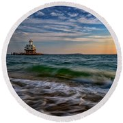 Long Beach Bar Lighthouse Round Beach Towel