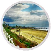 Round Beach Towel featuring the photograph Long Beach Bluff Park by Joseph Hollingsworth