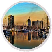 Round Beach Towel featuring the photograph Long Beach Harbor by Mariola Bitner