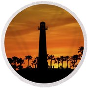 Long Beach Lighthouse Round Beach Towel