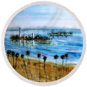 Long Beach Oil Islands Before Sunset Round Beach Towel