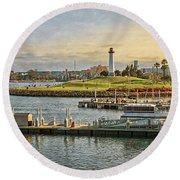 Long Beach - Rainbow Harbor Lighthouse Round Beach Towel